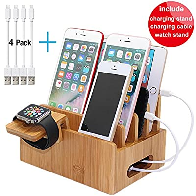 Charging Station Organizer for Multiple Devices, Desktop Docking Stations for Smartphone/Tablets/ipad (Watch Stand & 2 micro usb cable & 2 lightning cable 8inch) - Pezin & Hulin