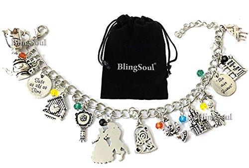 BlingSoul Beauty Belle Charm Bracelet Jewelry - Beast Emma Watson Costume Merchandise Gifts for Girls -