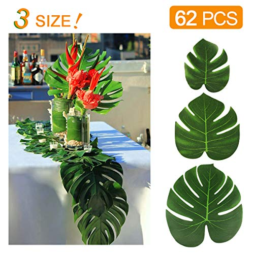 KIDCHEER 62pcs Tropical Palm Leaves Party Decoration Supplies Artificial Monstera Plant Leaves for Hawaiian Luau Party Jungle Beach Theme Birthday Wedding Decorations Accessories 6