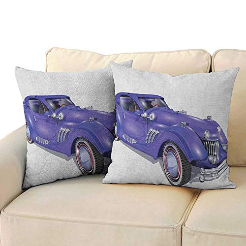(Ediyuneth Pillowcases Queen Cars,Custom Vehicle with Aerodynamic Design for High Speeds Cool Wheels Hood Spoilers, Violet Blue 18