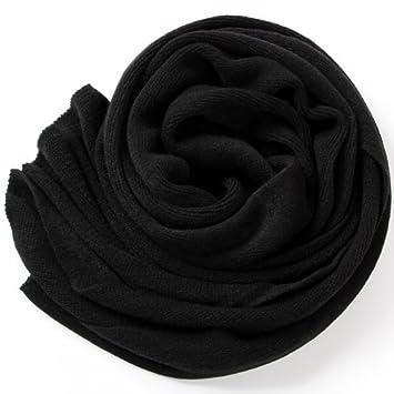d8dd9342f00d OME QIUMEI Foulard Écharpe Châle Tricoté Solide Noir Épaississant ...