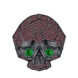 tusakha Men's Women's 14K Black Gold Plated 3.50 ctw Red Garnet & Emerald Half Jaw Skull Ring