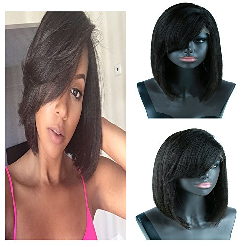 150-Density-Yiya-7A-Bob-Short-Wigs-Brazilian-Virgin-Human-Hair-Wig-Straight-Lace-Front-Wigs-Glueless-Full-Lace-Front-Wig-with-Baby-Hair-Natural-Black-Can-Be-Curled-8-18