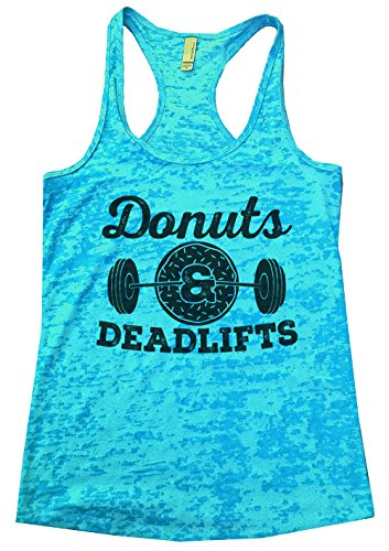 "Funny Threadz Womens Burnout Tank Top ""Donuts & Deadlifts"" Funny Food Tank Top Medium, Blue"