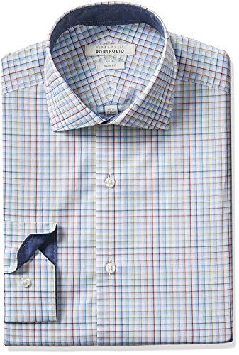 Perry-Ellis-Portfolio-Mens-Slim-Fit-Performance-Check-Dress-Shirt-Rose