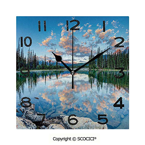 - SCOCICI 8 inch Square Clock Long View of Golden Sunrise Skyline at Pyramid Lake Tranquil Canadian Scenery Unique Wall Clock-for Living Room, Bedroom or Kitchen Use