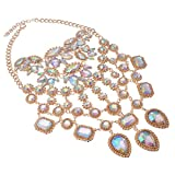 Statement Necklace for Women Lady Girl Jewelry Crystal Pendant Rhinestone Gold Alloy Chain Chunky Choker Bib 1pc with Gift Box - HLN0001 Crystal