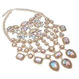 Statement Necklace Women Lady Girl Jewelry Crystal Pendant Rhinestone Gold Alloy Chain Chunky Choker Bib 1pc Gift Box - HLN0001 Crystal