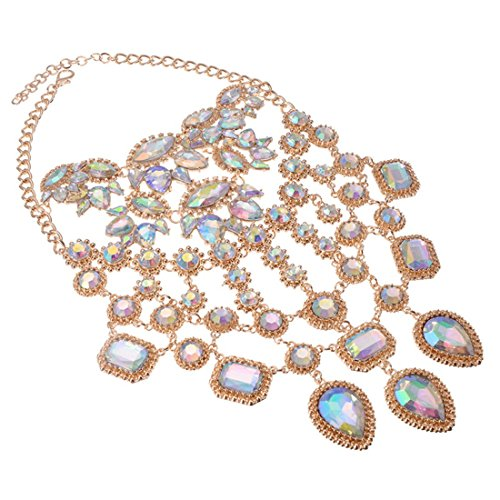 Statement Necklace for Women Lady Girl Jewelry Crystal Pendant Rhinestone Gold Alloy Chain Chunky Choker for Party Bachelo Bib 1pc with Gift Box - HLN0001 Crystal