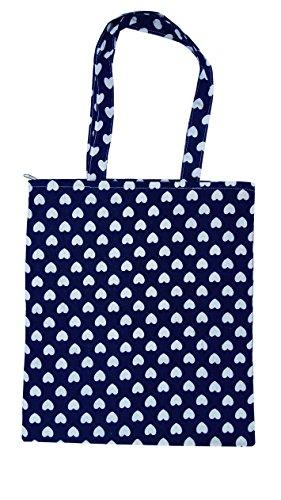 Chezi Women's Cute Love Heart Cotton Reusable Foldable Canvas Tote Shopping Bag (blue/no) ()