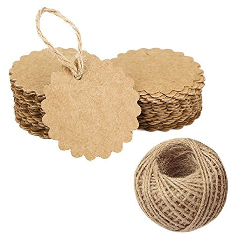 100 PCS Brown Flower Kraft Paper Gift Tags,Round Wedding Favor Kraft Hang Tags with 100 Feet Jute Twine