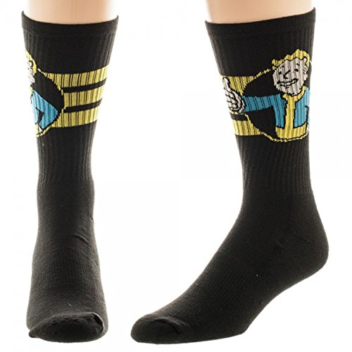 Fallout Vaultboy Mens' Crew Socks 1 Pair Black (10-13 sock, 6-12 shoe) from Fallout