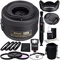 Nikon AF-S DX NIKKOR 35mm f/1.8G Lens + 52mm 3 Piece Filter Set (UV, CPL, FL) + 52mm +1 +2 +4 +10 Close-Up Macro Filter Set with Pouch + LENS CAP 52MM + 52mm Lens Hood + Cloth + Pouch Bundle