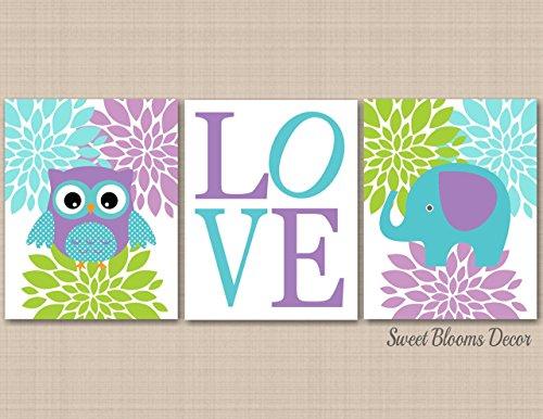Owl Elephant Wall Art,Lavender Teal Lime Nursery,elephant owl Nursery,Owl Nursery Decor,Elephant Nursery Décor,Lavender Owl,Teal Elephant,Aqua Elephant-UNFRAMED Set of 3 PRINTS(NOT CANVAS)C213