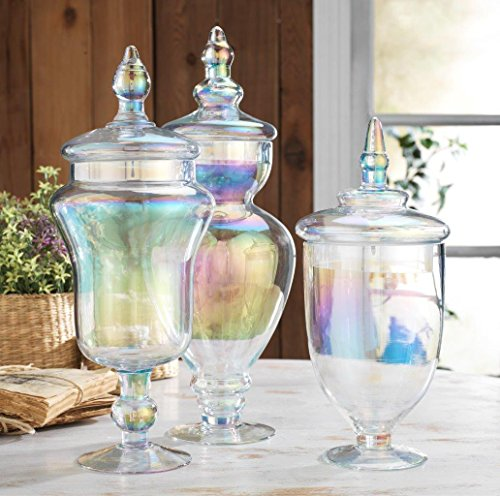Glass Lidded Apothecary Jar (Classic Home Large Glass Luster Apothecary Jars, Wedding Candy Buffet Containers (Set of 3))