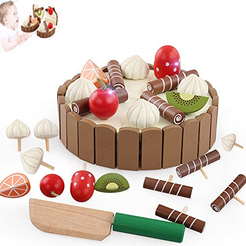 Rumfo Mini Cake Toy, Wooden Invisible Magnetic Baby Kitchen Toys Pretend Play Cutting Cake Play Food Toys Early Development And Education Toy For Baby