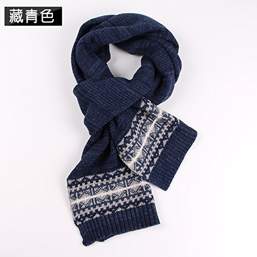 HOMEE Men'S Scarf Thickening Winter Warm Autumn and Winter,Navy Blue by HOMEE