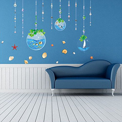 Kaimao Cartoon Sea World DIY Eco-friendly Wall Sticker Removable Wallpapers Creative Art Self-adhesive Mural for Bedroom Living Room Decoration