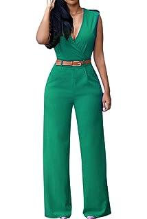 a87c98fca3c Amazon.com  Subtle Flavor Women s Floral Print Jumpsuits Sexy V Neck ...