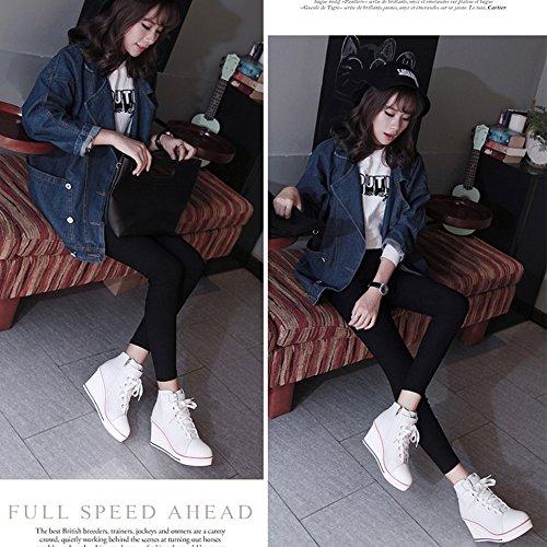 Zapatos De Cuña De Lona De Alta Moda Para Mujer De Pp Fashion Zapatos De Plataforma De Moda De Encaje Con Hebilla Blanca