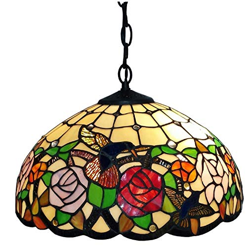 Amora Lighting Tiffany Style AM019HL16 Hummingbirds Floral Hanging Lamp Wide 16 In (Renewed)