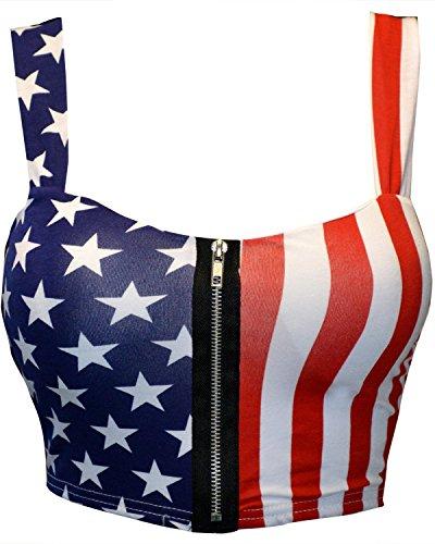 Mymixtrendz Women Crop ZIP Front Summer Print Boob Tube Bra Top Size 8-14 (S/M (UK 8-10 US 4-6), American Flag)