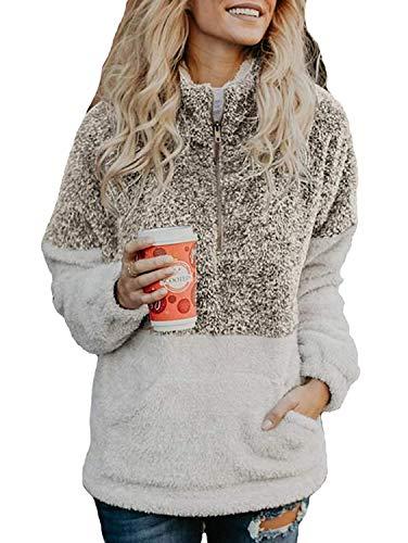 (Women's Coat Casual Lapel Fleece Fuzzy Faux Shearling Zipper Coats Warm Winter Oversized Outwear Jackets (Small, Khaki Pullover))