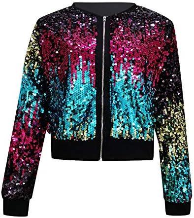 Armfre Tops Womens Sequin Bomber Jackets Long Sleeve Full Zip Short Blazer Coats Sparkly Lightweight Slim Fit Coat Outwear Clubwear