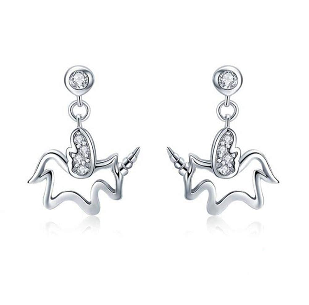 Sterling Silver Femininity Earrings Unicorn Memory Stud Earrings