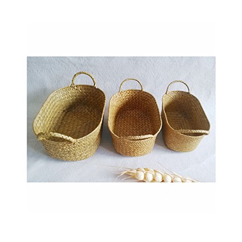 Home Decoration Reserve Sorting Basket Folk Pure Hand-Made Non-Willow Weave Straw Storage Basket(Three Pieces of A Set)