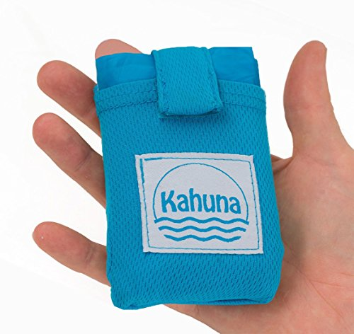 Kahuna Pocket Blanket - Waterproof Outdoor Blanket. The Perfect Pocket Size Blanket for Travel, Picnic and Camping. Ideal Ground Sheet For a Concert or Festival, or a Sand Free Day at the Beach - Blue
