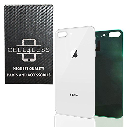 CELL4LESS Back Glass Cover OEM Battery Door Replacement w/Adhesive & Removal Tool for Apple iPhone 8 Plus (Silver)