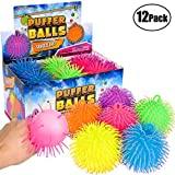 Bedwina Puffer Balls (Pack of 12) - Stress Relief Balls Bulk, Neon Sensory, Stress Relief & Therapy Ball Toy for Kids for Goodie Bags and Party Favors