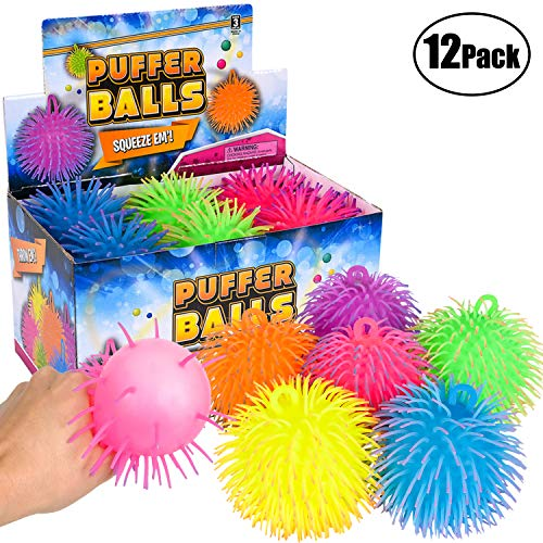 (Bedwina Puffer Balls (Pack of 12) - Stress Relief Balls Bulk, Neon Sensory, Fidget, Stress Relief & Therapy Ball Toy for Kids for Goodie Bags and Party Favors)