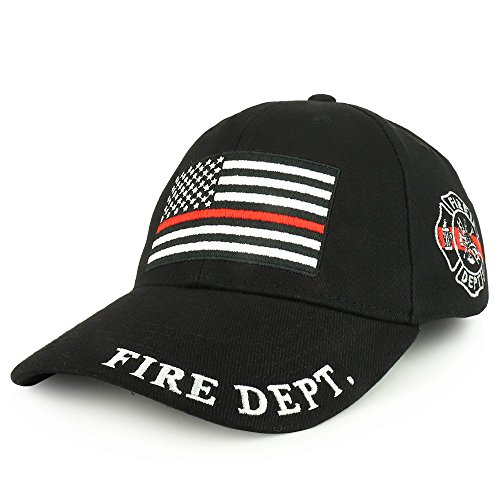 Structured Cotton Twill Baseball Cap (Armycrew Fire Dept USA Flag Thin Red Embroidered Structured Cotton Twill Baseball Cap - Black)