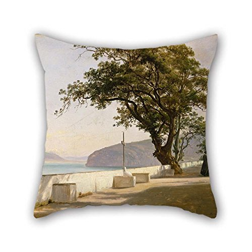 Pillow Shams Of Oil Painting Thomas Fearnley - Terrace With Oak, Sorrento For Family Dance Room Car Seat Kids Outdoor Lover 16 X 16 Inches / 40 By 40 Cm(twice Sides) (Seat Love Sorrento)