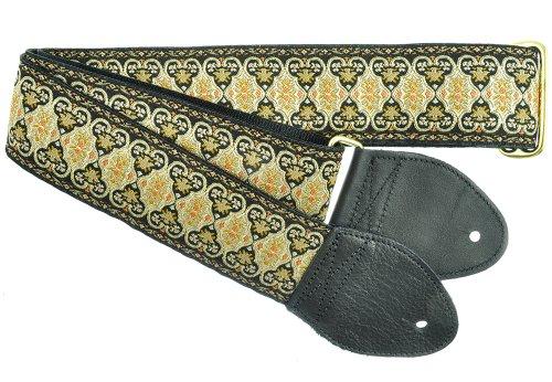 Souldier Custom GS0112BK05BK Handmade Persian Tapestry Guitar Strap, Black Gold