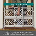 "North States Mypet Paws 40"" Portable Pet Gate: Expands & Locks In Place with No Tools. Pressure Mount. Fits 26""- 40"" Wide (23"" Tall, Light Gray) 10"