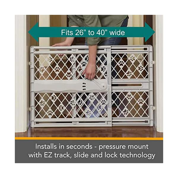 "North States Mypet Paws 40"" Portable Pet Gate: Expands & Locks In Place with No Tools. Pressure Mount. Fits 26""- 40"" Wide (23"" Tall, Light Gray) 4"