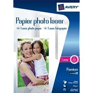 Avery – 50 hojas de papel fotográfico 200 g/m2 brillante, tamaño A4, impresión láser,