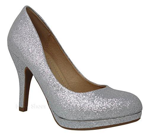 MVE Shoes Women's Platform Almond Toe Pumps-Shoes, Silver glt Size 10 Almond Toe Pump
