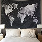 BLEUM CADE Starry World Map Tapestry Black & White Abstract Painting Wall Hanging Home Decor for Living Room Bedroom Dorm Room 59''x82''