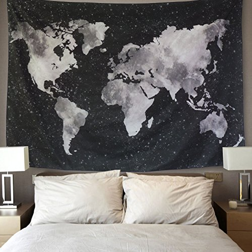 BLEUM CADE Starry World Map Tapestry Black & White Abstract Painting Wall Hanging Home Decor for Living Room Bedroom Dorm Room 59''x82'' by BLEUM CADE