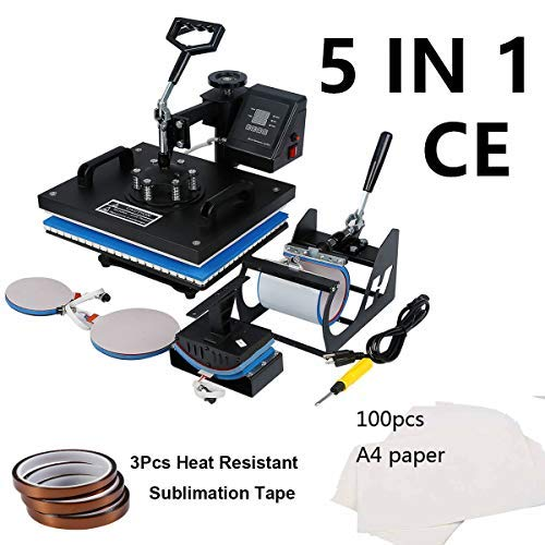 Tengchang 5 in 1 Heat Press Machine Digital Sublimation T-Shirt Mug Hat Plate Cap 15 x 12'' with Transfer Paper & Tape