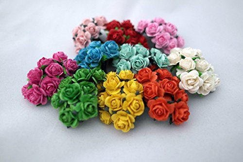 100 Mixed Color 10mm Artificial Mulberry Paper Rose Flower Wedding Scrapbook 1.5cm Diy Craft Scrapbook Scrapbooking Bouquet Craft Stem Handmade Rose Valentines Anniversary Embellishment
