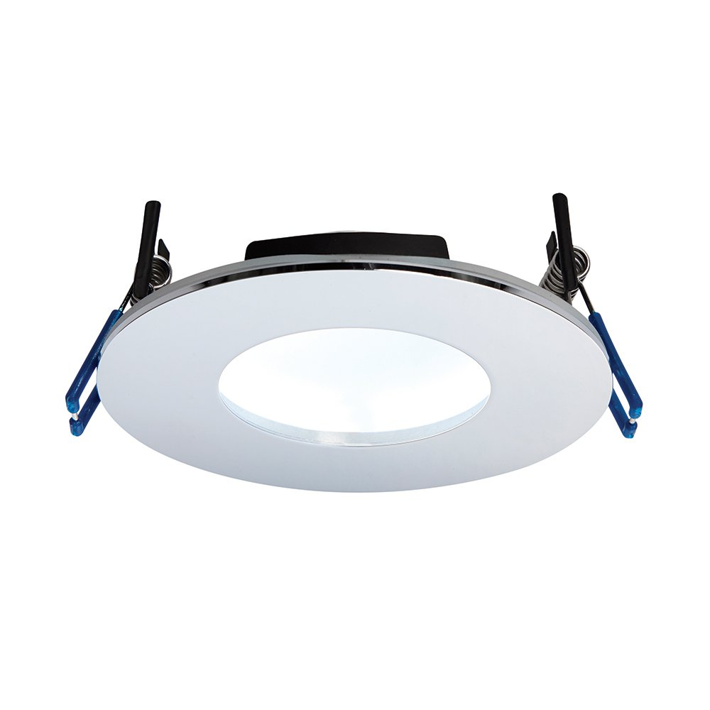 9W Matt White Die Cast Aluminium Fire Rated Bathroom Shower IP65 Dimmable Anti Glare Recessed Cool White 5000K Slim Profile Ceiling LED Downlight Betta Lighting