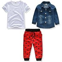 Little Boy Outfit Baby Denim Jacket+Tshirt+Pant 3PCS Clothes Set,1-5 Age Boy Clothing Suit