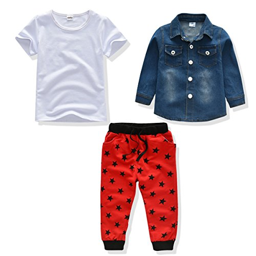 Little Boy Outfit Baby Denim Jacket+Tshirt+Pant 3PCS Clothes Set,1-5 Age Boy Clothing Suit (3T, Blue/White/Red)