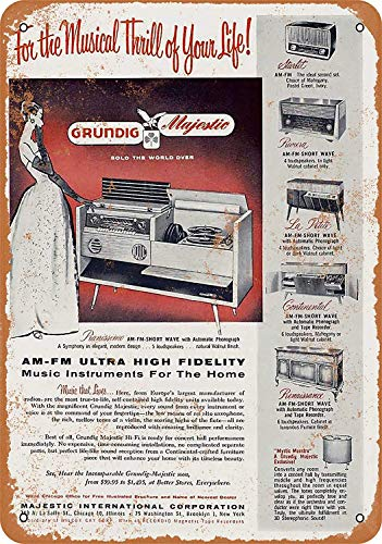 - FemiaD 8 X 12 Vintage Look Metal Sign - 1956 Grundig Radios
