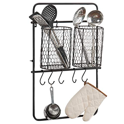 MyGift Black Metal Organizer Rack with 2 Removable Wire Baskets & - Removable Basket Wire